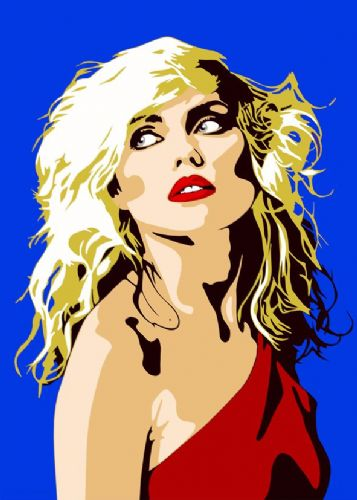 BLONDIE - Debbie Harry -PAINT STYLE BLUE / canvas print - self adhesive poster - photo print